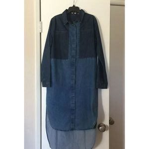 Do & Be Blue Two Tone Button Down Shirt Dress
